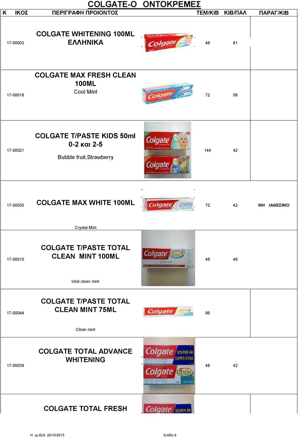 Crystal Mint 17-00010 COLGATE T/PASTE TOTAL CLEAN MINT 100ML 48 48 total clean mint COLGATE T/PASTE TOTAL CLEAN MINT