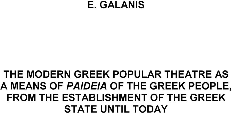 PAIDEIA OF THE GREEK PEOPLE, FROM