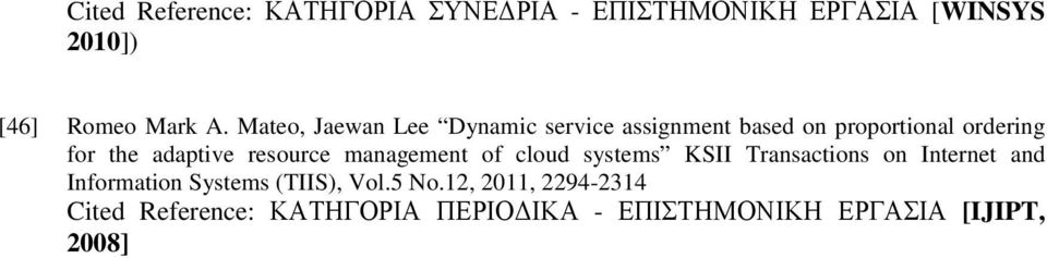 resource management of cloud systems KSII Transactions on Internet and Information Systems