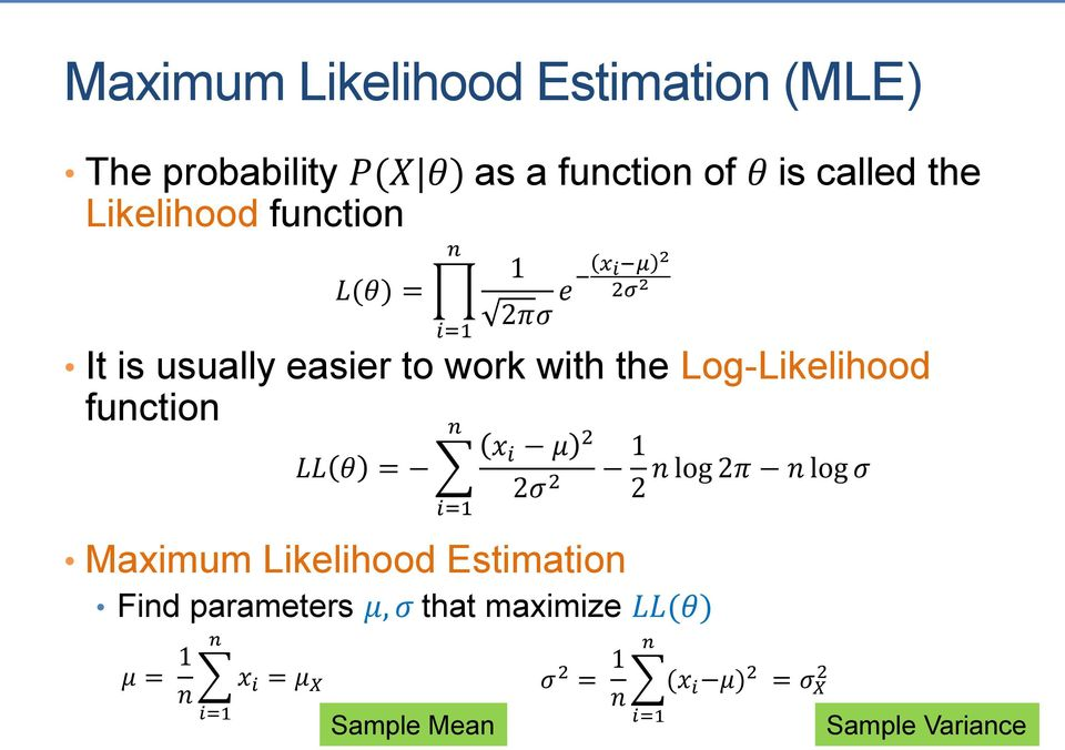 Likelihood Estimation x i μ 2 2σ 2 Find parameters μ, σ that maximize LL(θ) μ = 1 n n i=1 x i = μ X LL