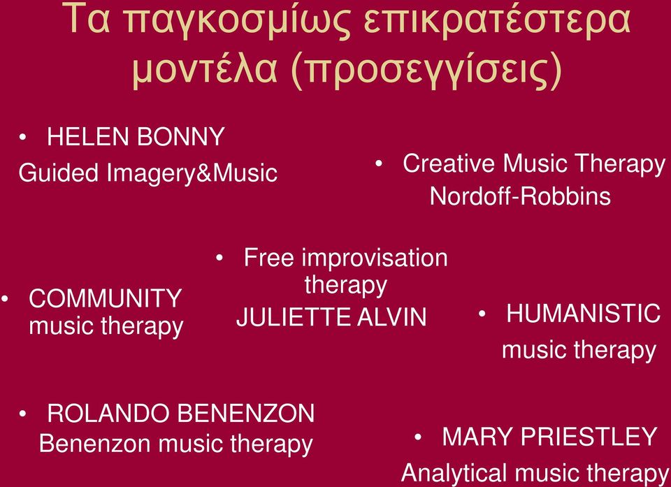 therapy Free improvisation therapy JULIETTE ALVIN HUMANISTIC music