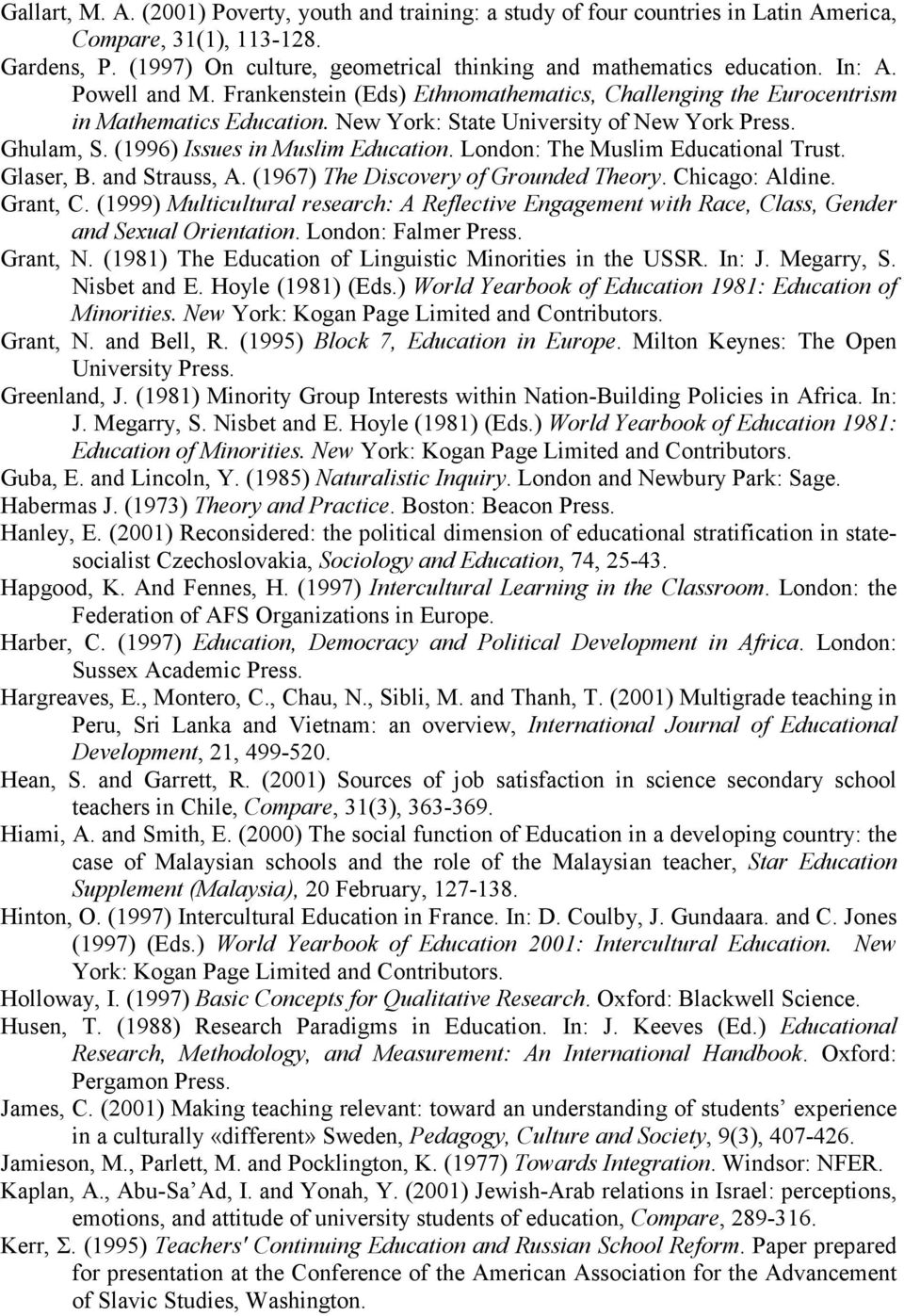 (1996) Issues in Muslim Education. London: The Muslim Educational Trust. Glaser, B. and Strauss, A. (1967) The Discovery of Grounded Theory. Chicago: Aldine. Grant, C.