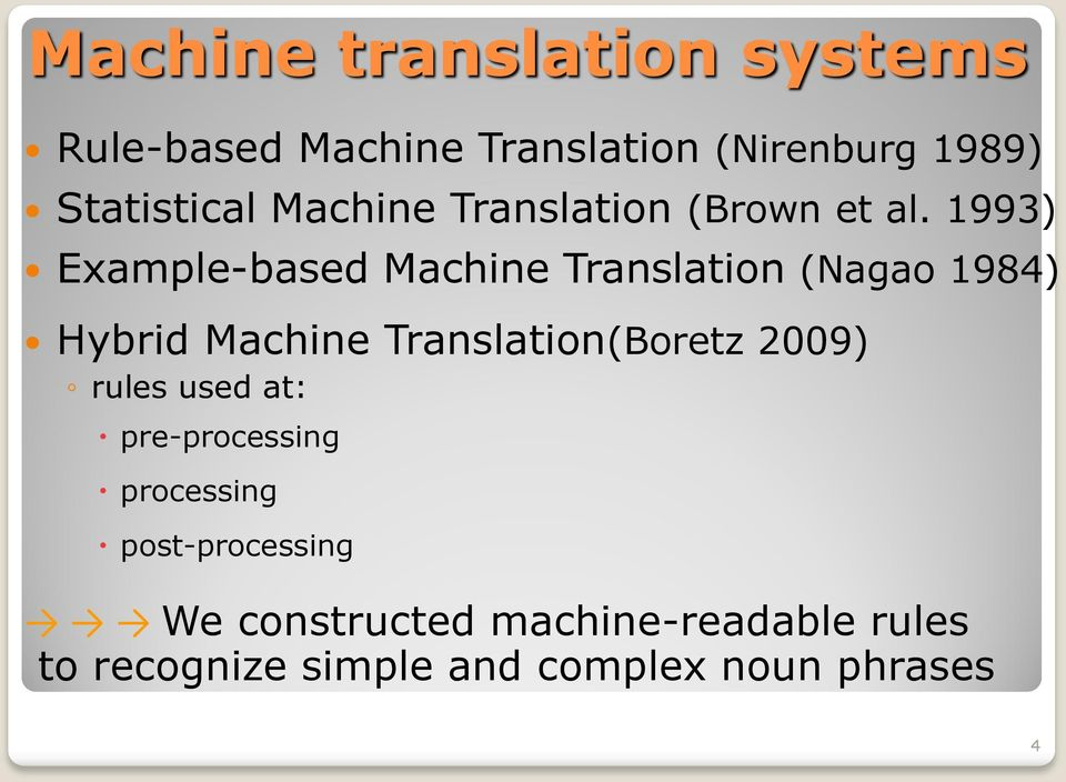 1993) Example-based Machine Translation (Nagao 1984) Hybrid Machine Translation(Boretz