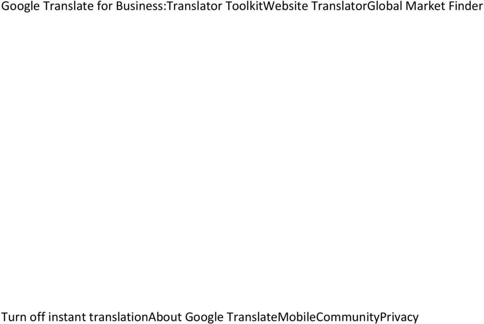TranslatorGlobal Market Finder Turn off