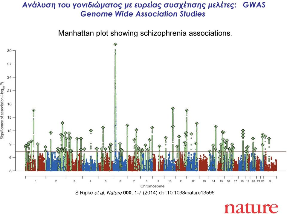 Manhattan plot showing schizophrenia associations.
