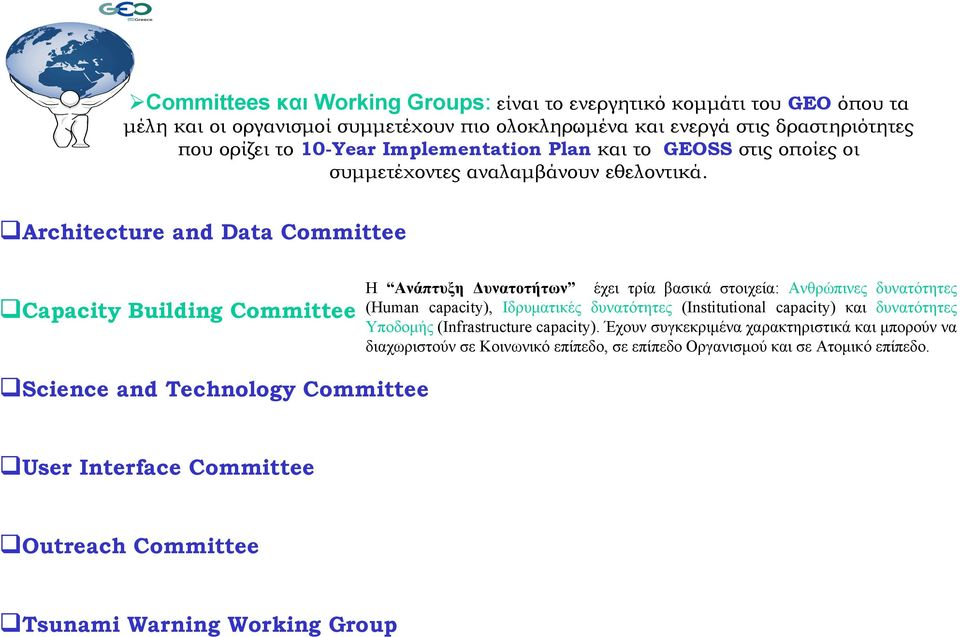Architecture and Data Committee Capacity Building Committee Η Ανάπτυξη Δυνατοτήτων έχει τρία βασικά στοιχεία: Ανθρώπινες δυνατότητες (Human capacity), Ιδρυματικές δυνατότητες