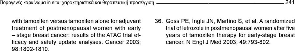 ATAC trial efficacy and safety update analyses. Cancer 2003; 9:102-110. 36. Goss PE, Ingle JN, Martino S, et al.