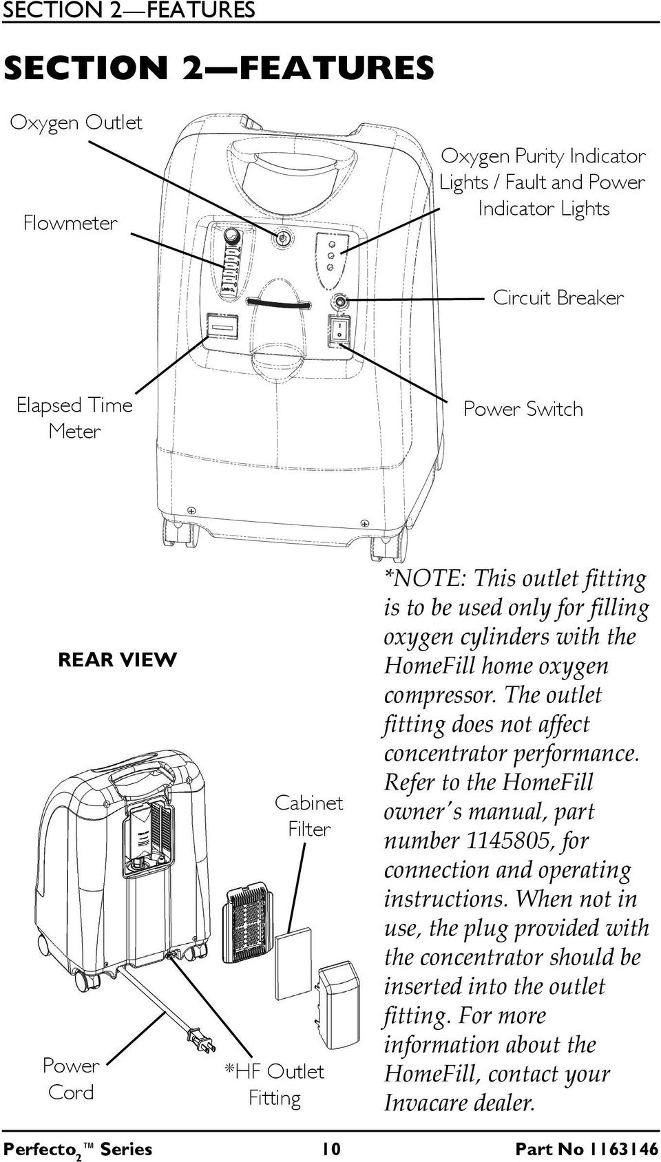 The outlet fitting does not affect concentrator performance. Refer to the HomeFill owner's manual, part number 1145805, for connection and operating instructions.