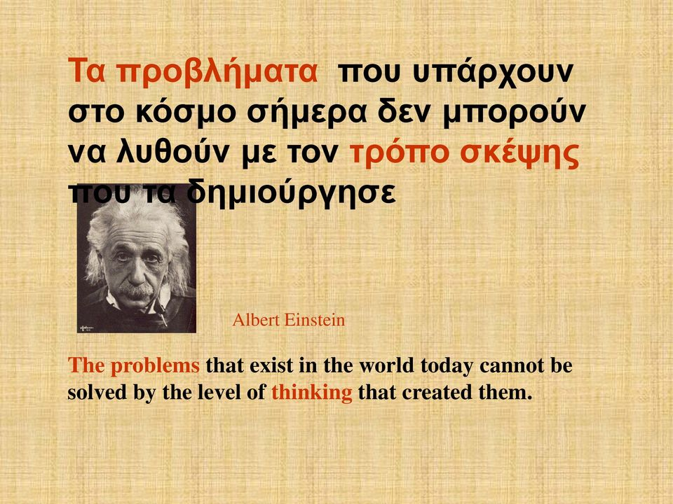 Einstein The problems that exist in the world today