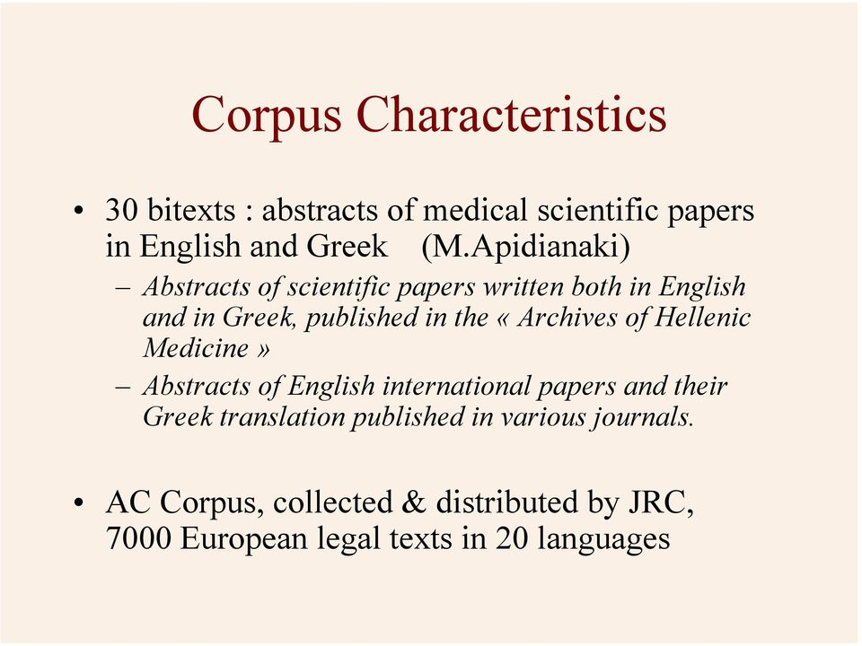 «Archives of Hellenic Medicine» Abstracts of English international papers and their Greek translation