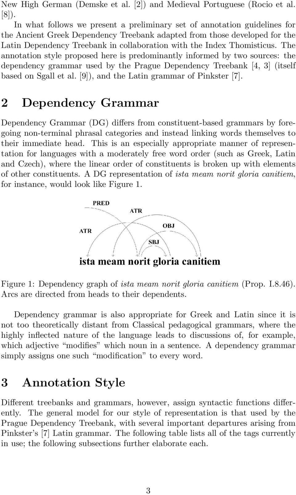 the Index Thomisticus. The annotation style proposed here is predominantly informed by two sources: the dependency grammar used by the Prague Dependency Treebank [4, 3] (itself based on Sgall et al.