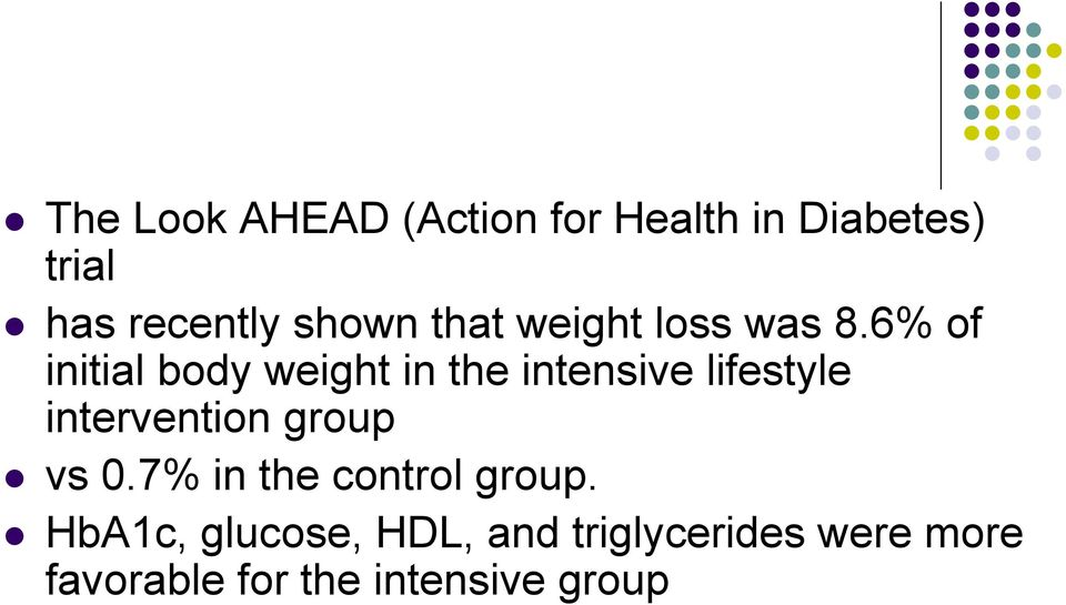 6% of initial body weight in the intensive lifestyle intervention
