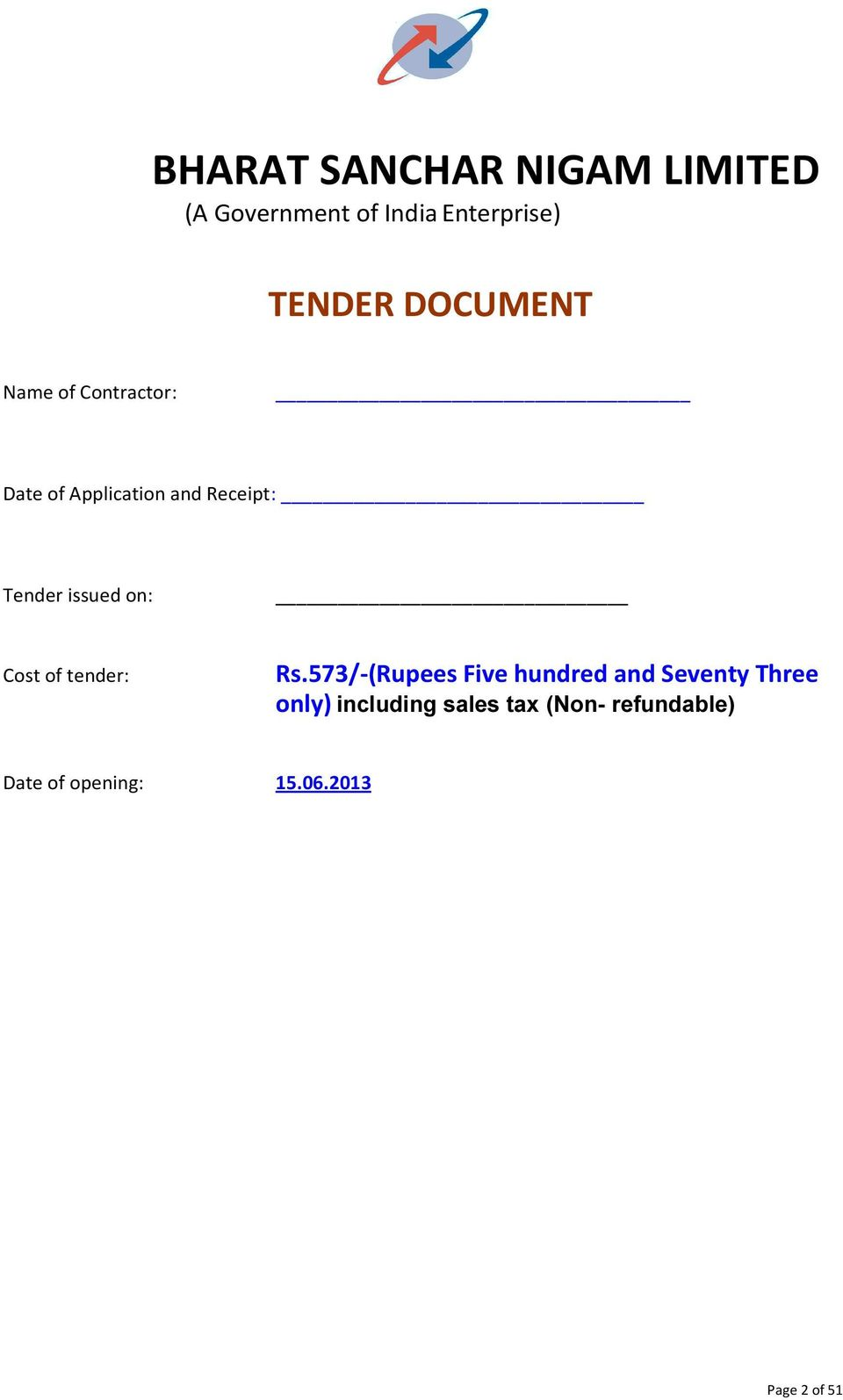 issued on: Cost of tender: Rs.