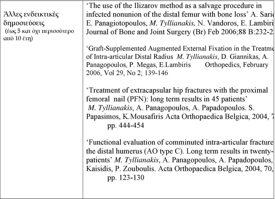 Lambiri Journal of Bone and Joint Surgery (Br) Feb 2006;88 B:232-23 Graft-Supplemented Augmented External Fixation in the Treatme of Intra-articular Distal Radius M. Tyllianakis, D. Giannikas, A.