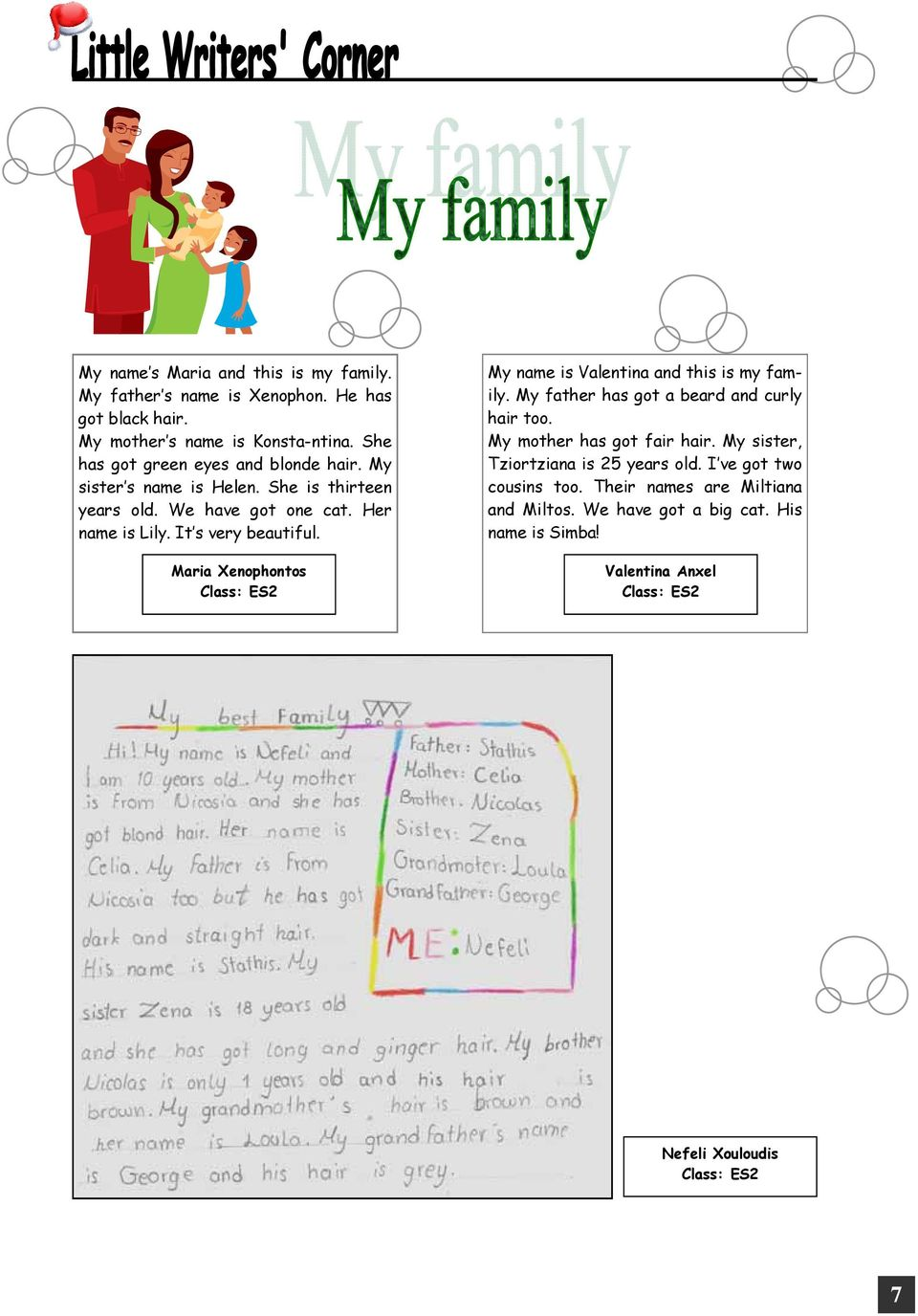 Maria Xenophontos Class: ES2 My name is Valentina and this is my family. My father has got a beard and curly hair too. My mother has got fair hair.