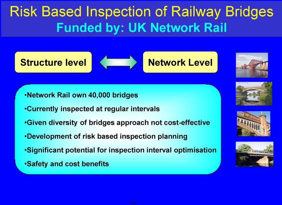 Given diversity of bridges approach not cost-effective Development of risk based