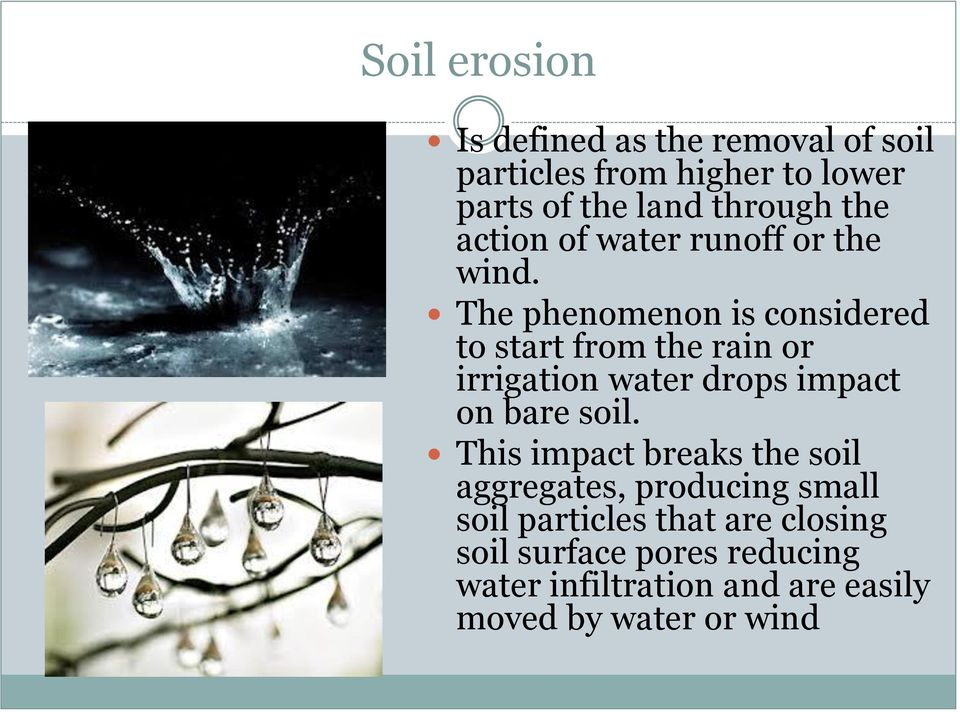 The phenomenon is considered to start from the rain or irrigation water drops impact on bare soil.