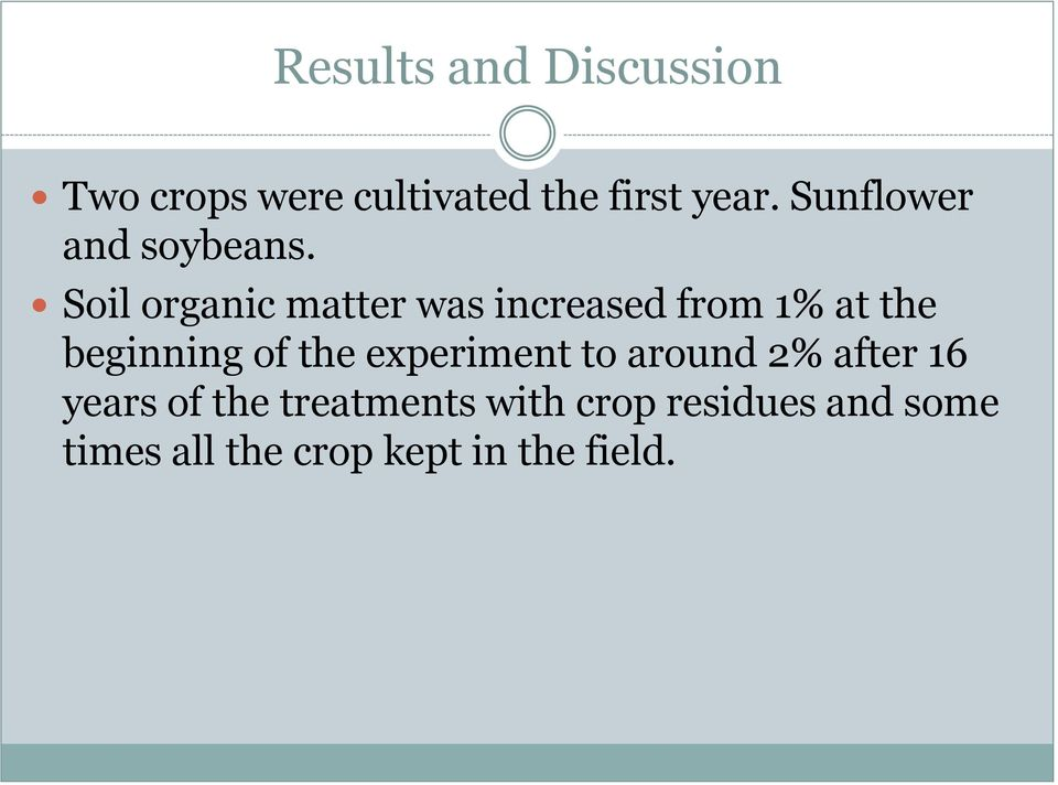 Soil organic matter was increased from 1% at the beginning of the