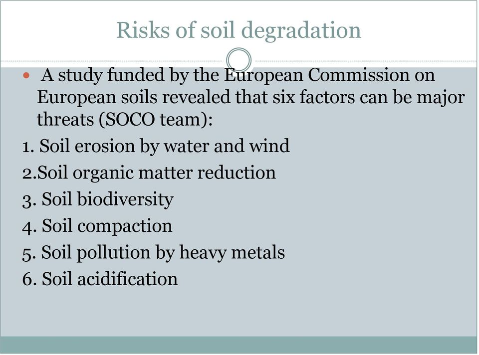 Soil erosion by water and wind 2.Soil organic matter reduction 3.