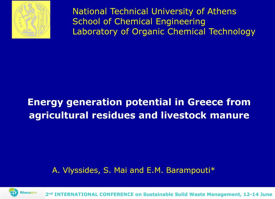 Energy generation potential in Greece from agricultural