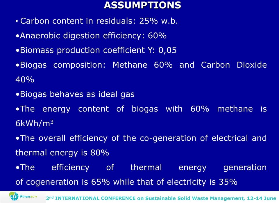Anaerobic digestion efficiency: 60% Biomass production coefficient Y: 0,05 Biogas composition: Methane 60% and