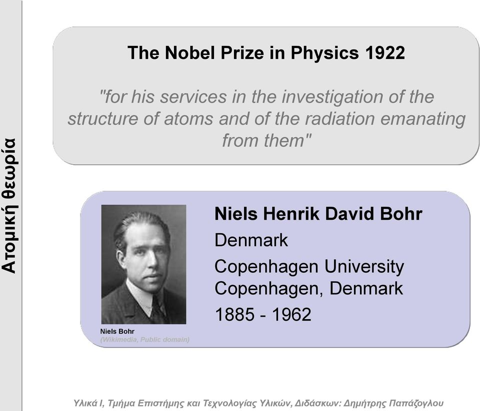 "emanating from them"" Niels Bohr (Wikimedia, Public domain) Niels"