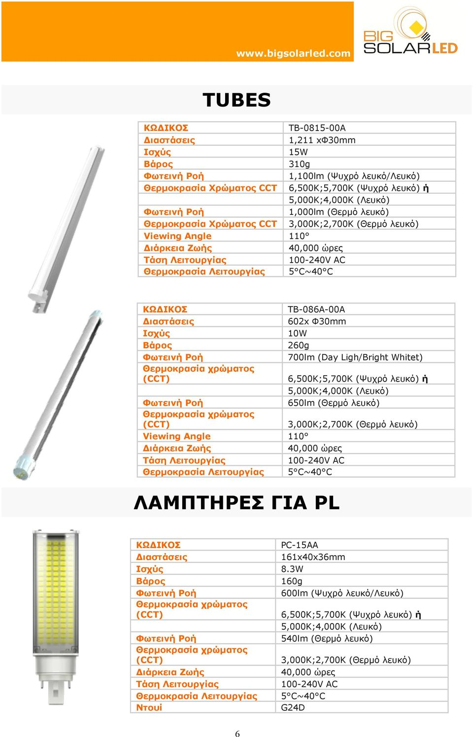 ΓΙΑ PL TB-086A-00A 602x Φ30mm 10W 260g 700lm (Day Ligh/Bright Whitet) 650lm (Θερµό λευκό) PC-15AA 161x40x36mm 8.