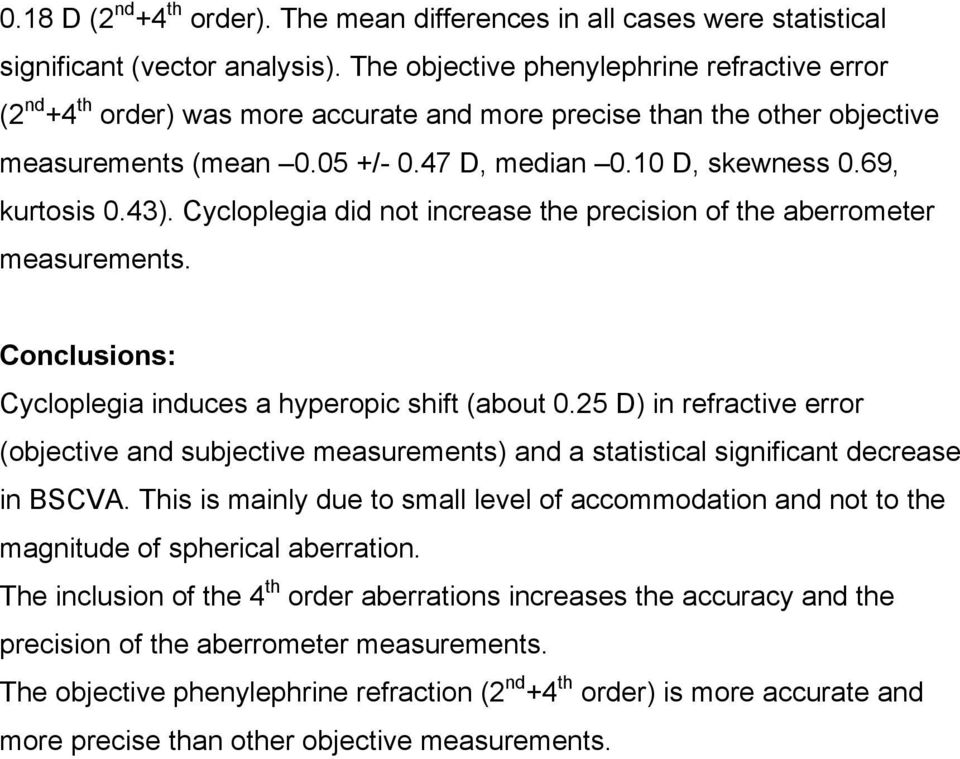 69, kurtosis 0.43). Cycloplegia did not increase the precision of the aberrometer measurements. Conclusions: Cycloplegia induces a hyperopic shift (about 0.