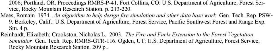- 9. Berkeley, Calif.: U.S. Department of Agriculture, Forest Service, Pacific Southwest Forest and Range Exp. Stn. 4 p.