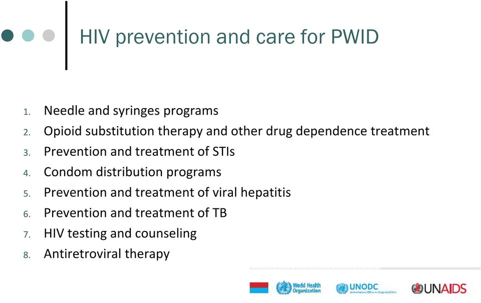 Prevention and treatment of STIs 4. Condom distribution programs 5.