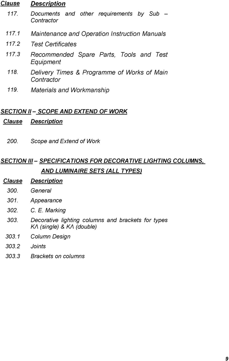 Materials and Workmanship SECTION II SCOPE AND EXTEND OF WORK Clause Description 200.