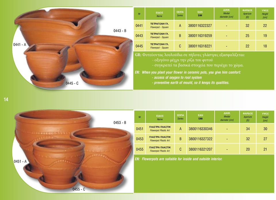0445 - C EN: When you plant your flower in ceramic pots, you give him comfort: - access of oxygen to root system - preventive earth of mould, so it keeps its qualities.