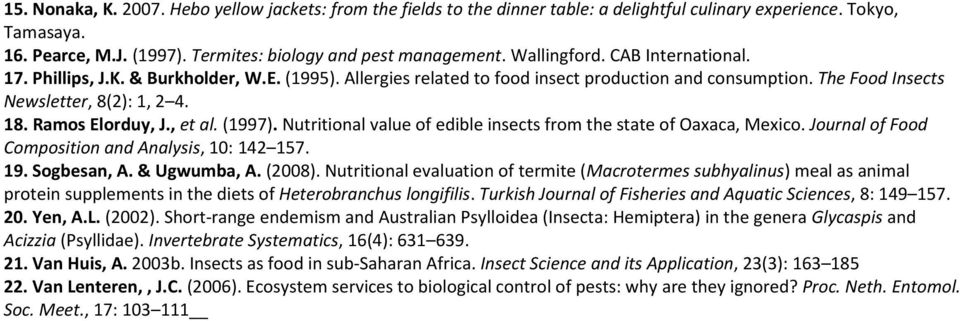 Ramos Elorduy, J., et al. (1997). Nutritional value of edible insects from the state of Oaxaca, Mexico. Journal of Food Composition and Analysis, 10: 142 157. 19. Sogbesan, A. & Ugwumba, A. (2008).