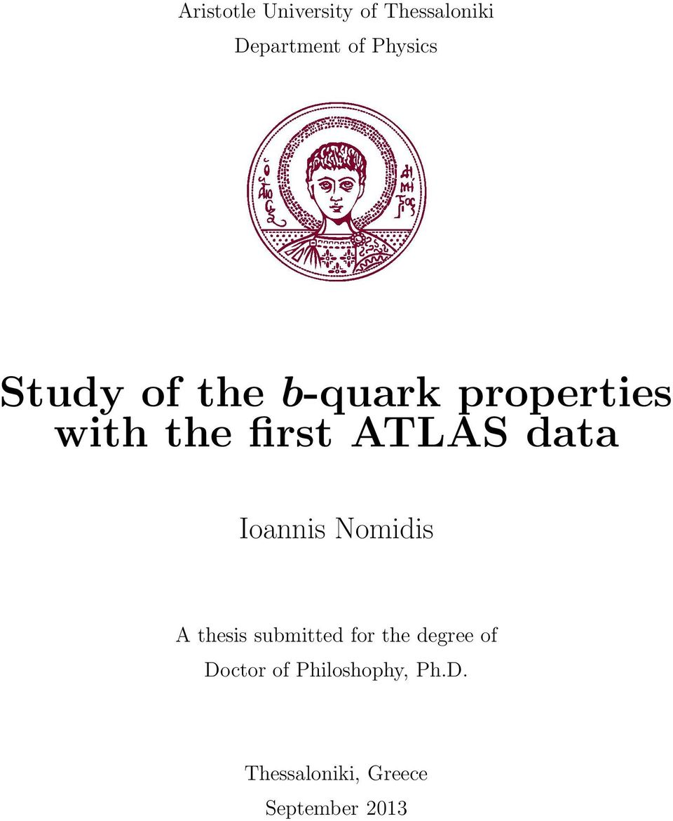 Ioannis Nomidis A thesis submitted for the degree of