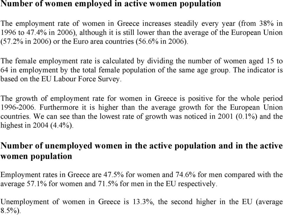 The female employment rate is calculated by dividing the number of women aged 15 to 64 in employment by the total female population of the same age group.