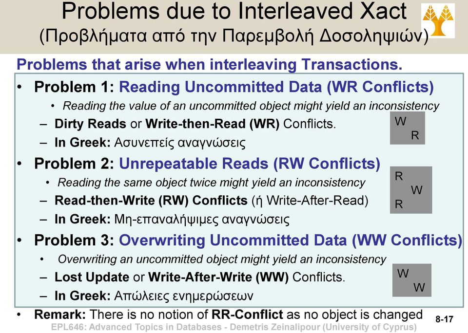In Greek: Ασυνεπείς αναγνώσεις Problem 2: Unrepeatable Reads (RW Conflicts) Reading the same object twice might yield an inconsistency Read-then-Write (RW) Conflicts (ή Write-After-Read) In Greek: