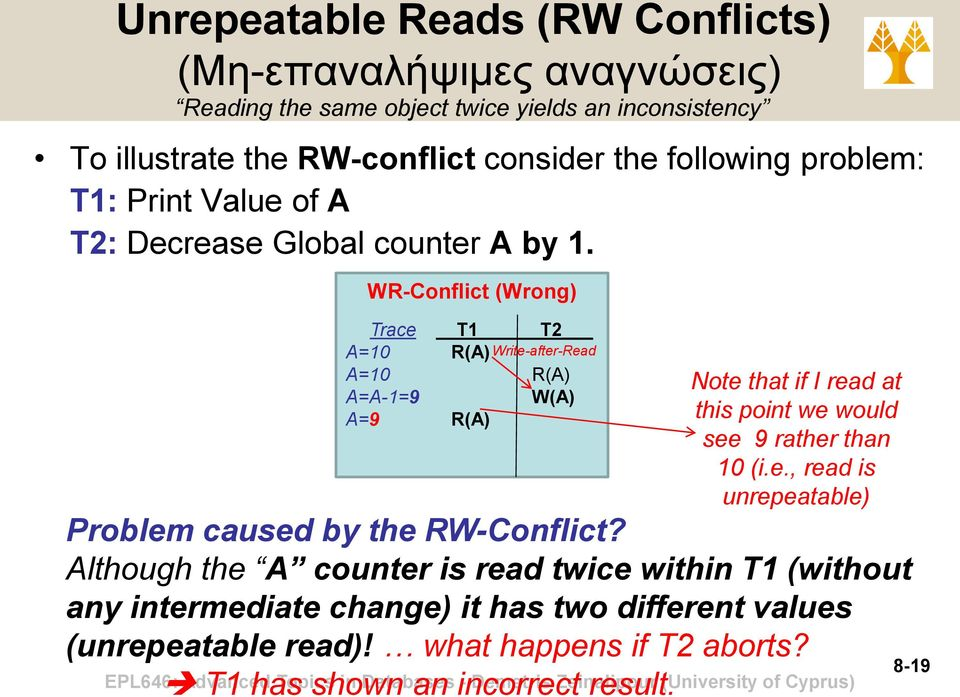 WR-Conflict (Wrong) Trace A=10 A=10 A=A-1=9 A=9 Τ1 Τ2 Write-after-Read Problem caused by the RW-Conflict?