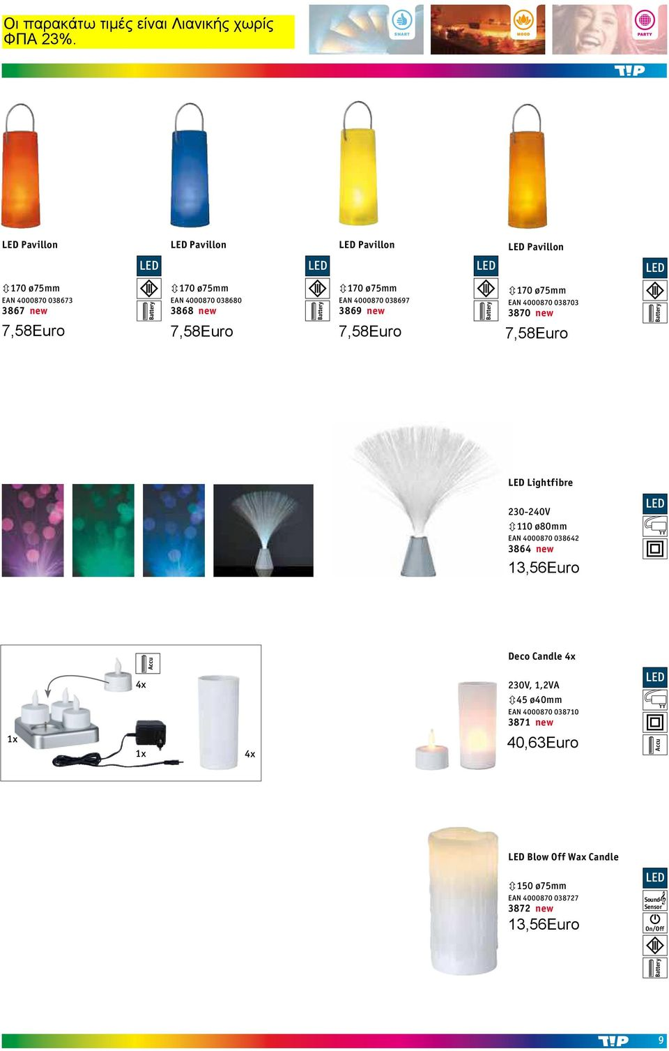 Lightfibre 230-240V 3110 ø80mm EAN 4000870 038642 3864 new 5,76 5,24 4,99 Alu 1x 4x 1x Accu Accu Sound- Sensor 4x Deco Candle 4x, 1,2VA 345