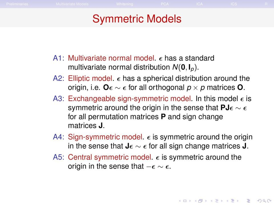 In this model ɛ is symmetric around the origin in the sense that PJɛ ɛ for all permutation matrices P and sign change matrices J.