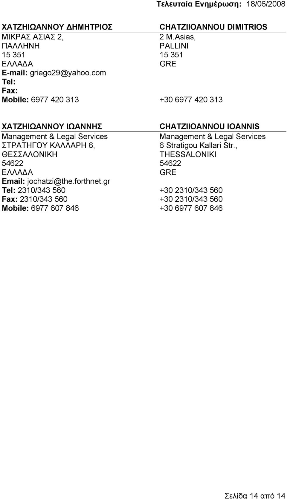 com 6977 420 313 +30 6977 420 313 ΧΑΤΖΗΙΩΑΝΝΟΥ ΙΩΑΝΝΗΣ CHATZIIOANNOU IOANNIS Management & Legal Services