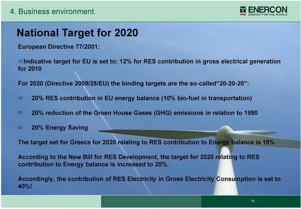 (GHG) emissions in relation to 1990 20% Energy Saving The target set for Greece for 2020 relating to RES contribution to Energy balance is 18% According to the New Bill for RES