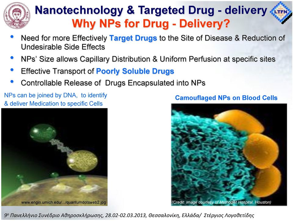 Distribution & Uniform Perfusion at specific sites Effective Transport of Poorly Soluble Drugs Controllable Release of Drugs Encapsulated
