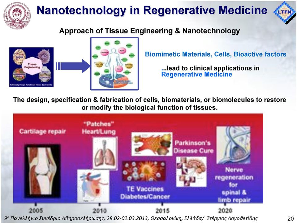 ..lead to clinical applications in Regenerative Medicine The design, specification