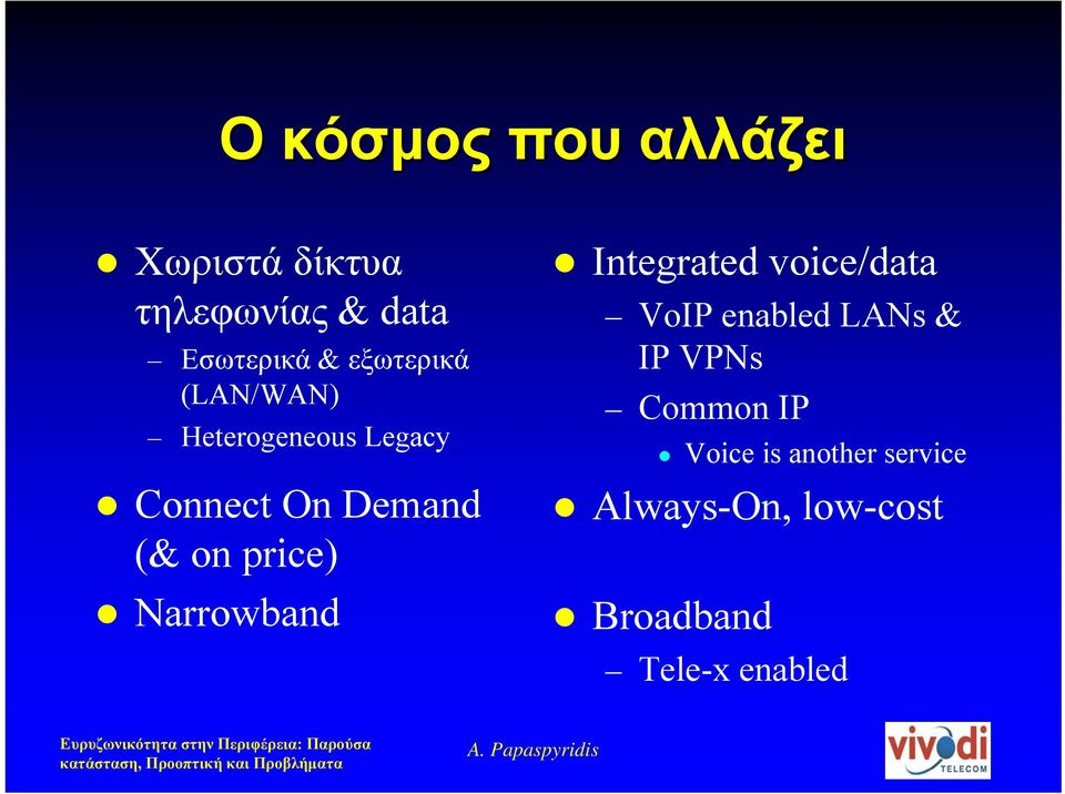 price) Narrowband Integrated voice/data VoIP enabled LANs & IP VPNs