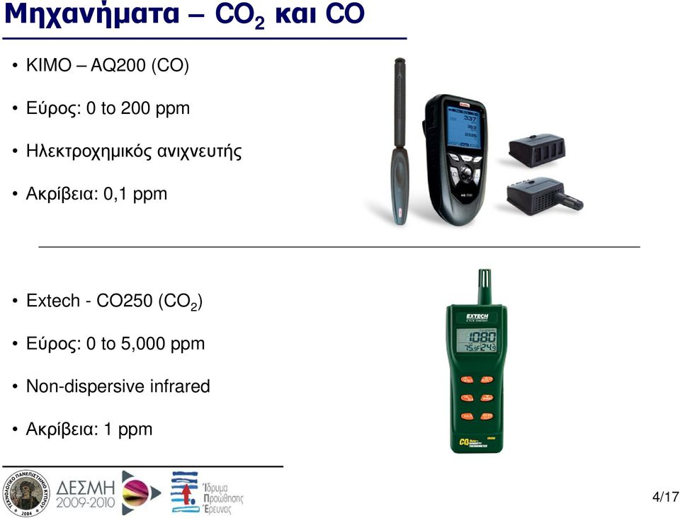 0,1 ppm Extech - CO250 (CO 2 ) Εύρος: 0 to