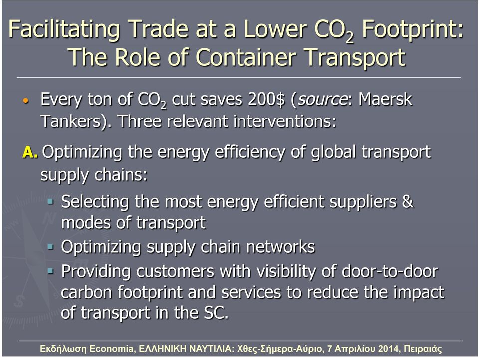 Optimizing the energy efficiency of global transport supply chains: Selecting the most energy efficient suppliers &