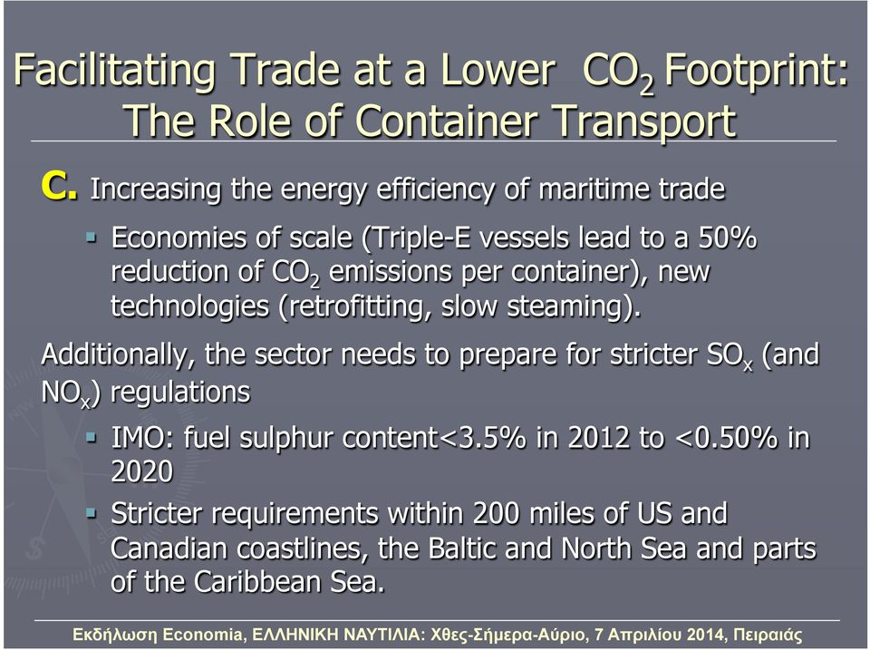 container), new technologies (retrofitting, slow steaming).