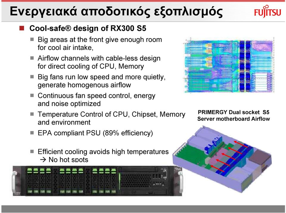 airflow Continuous fan speed control, energy and noise optimized Temperature Control of CPU, Chipset, Memory and environment EPA