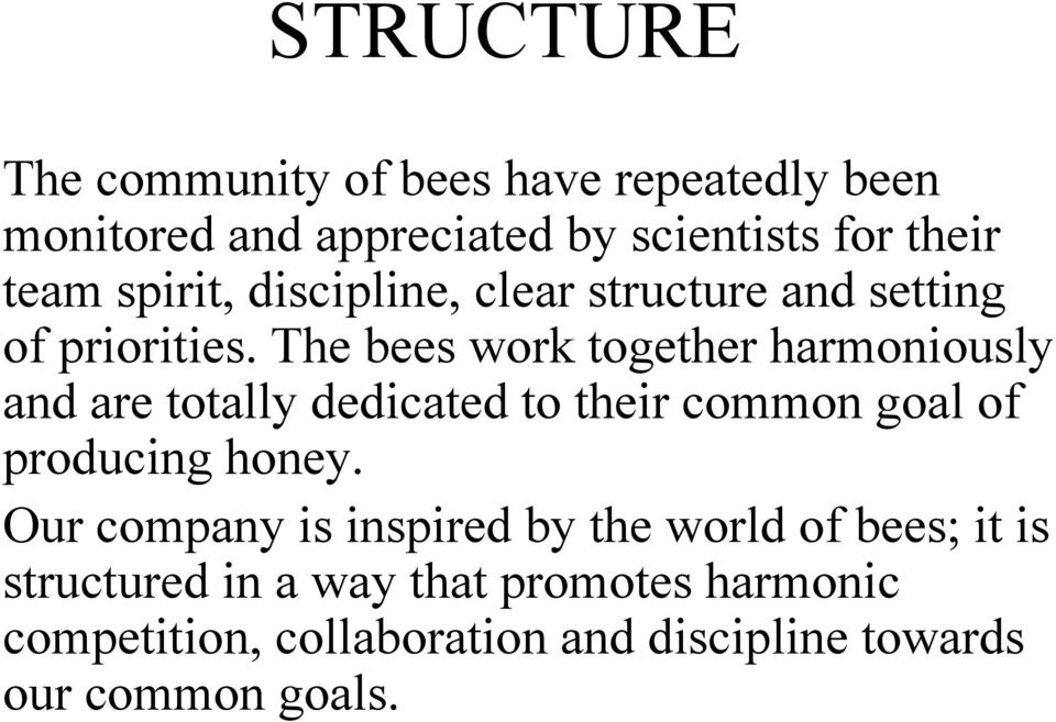 The bees work together harmoniously and are totally dedicated to their common goal of producing honey.