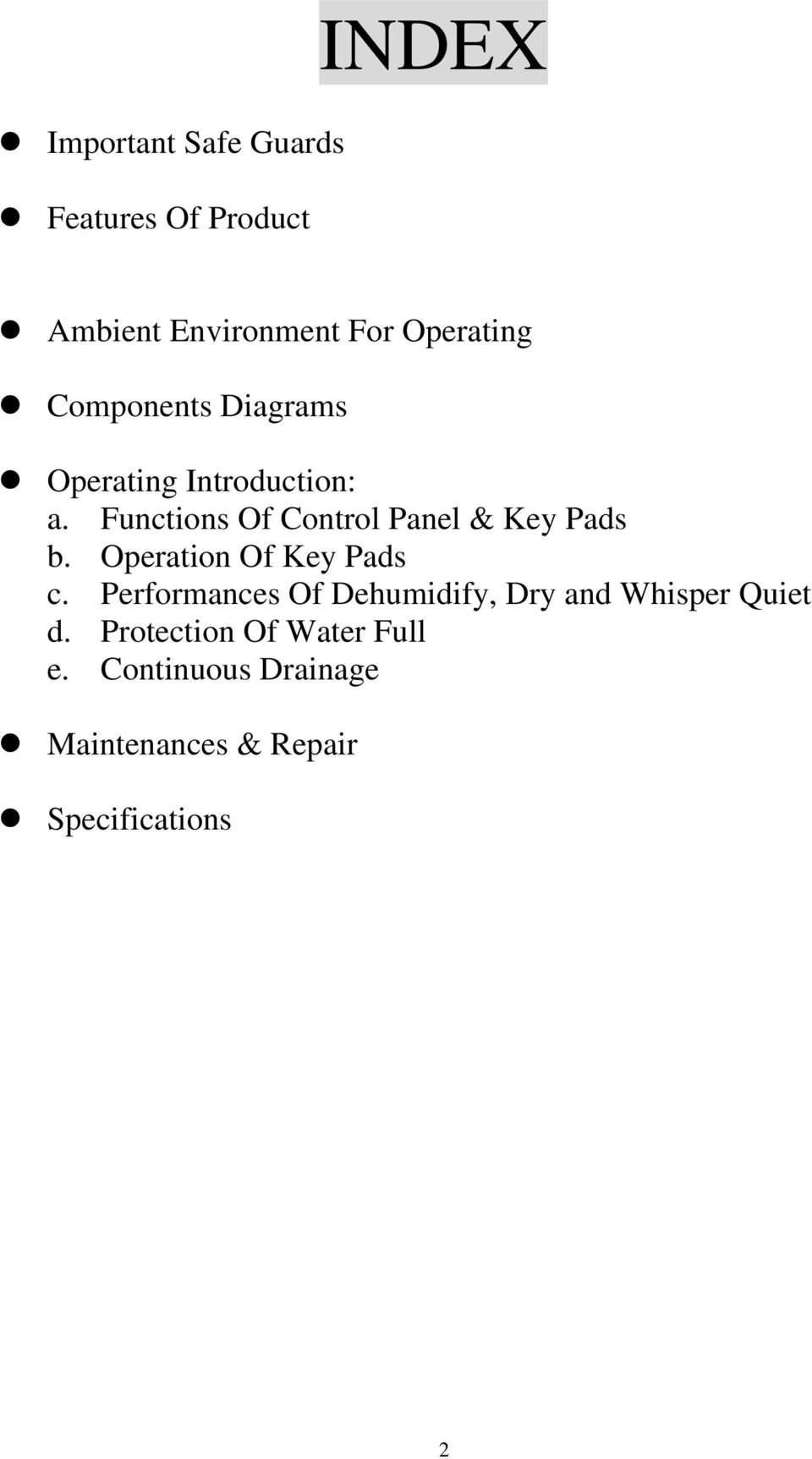 Functions Of Control Panel & Key Pads b. Operation Of Key Pads c.